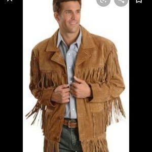 Western leather cowboy fringe jacket coat